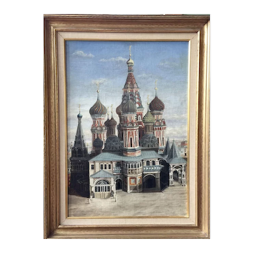 A 19th century Russian painting of Saint Basil's Cathedral, Red Square, Moscow, circa 1880