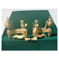 pair of palatial LXV style french gilded bronze figural fireplace chenets