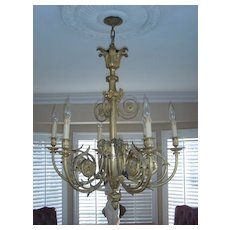 Museum quality antique figural  French gilded LXV style bronze figural 6 light chandelier, c. 1880                                     0