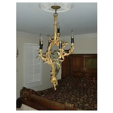 Antique French gilded bronze figural chandelier Madonna , museum quality, c.1880