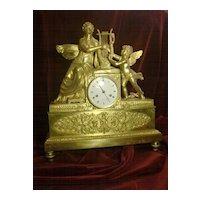 Original Antique French Empire figural angel gilded bronze mantel clock c.1820