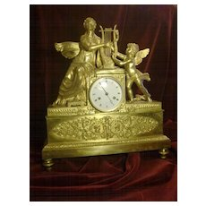 Original Antique French Empire figural angel gilded bronze mantel clock c.1820