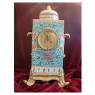 Spectacular Chinese porcelain, gilded French bronze mounts  palatial mantel clock c.1880