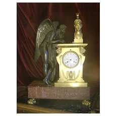Amazing palace size original antique  French Empire gilded bronze figural angel mantel clock m 19th century