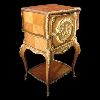 Original antique Luis Phillipe gilded figural bronze marquetry partner table c.1880 France
