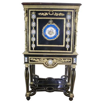 Museum  French Sevres gilded figural bronze mounts, marble top Jewelry Chest, c.1880