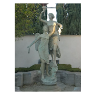 Monumental patinated bronze figural  two angels holding torch fountain