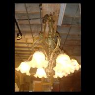 Antique French bronze 5 light chandelier c.1900