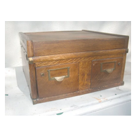 Turn of the century antique American oak card holder/ Rolodex
