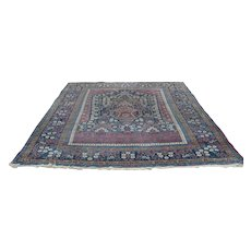 Antique Persian hand knotted area rug,large, c.1880, tree of life
