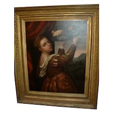 Large antique French oil on canvas painting young girl basket c.1880 gilded frame