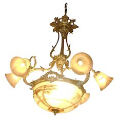 Stunning antique gilded bronze and painted glass chandelier, French, c.1880 signed P.Ducobu
