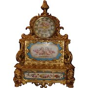Incredible French Sevres porcelain and gilded bronze  center table clock, circa 1880