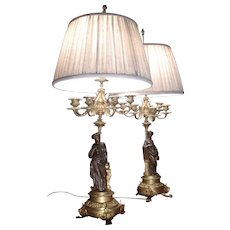 Pair of Original period French gilded bronze figural palatial table lamps, circa 1880