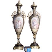 Antique Palatial pair of Sevres style gilded bronze porcelain urns, French, circa 1880