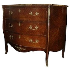 AntiqueLXV style bombay French three drawer marble top dresser, chest,bronze mounts, circa 1900