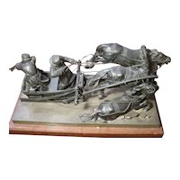 Museum Original Antique Russian patinated bronze statue figurine warriers on chariot, three horses, signed m.Boriepr.fer, 19th century