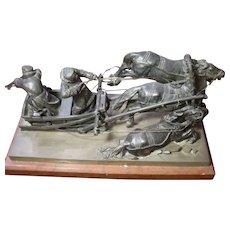 Museum Original Antique Russian patinated bronze statue figurine warriers on chariot, three horses, signed m.Boriepr.fer, 19th century