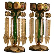 Pair of antique bohemian Moser painted glass lusters, museum quality, 19th century