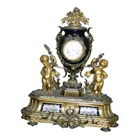 Stunning  Palatial French Porcelain gilded figural bronze mantel clock, custom made for Bailey & Co. Philadelphia, circa 1880