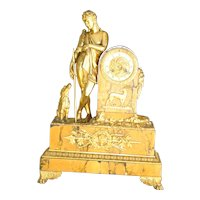 Stunning antique french gilded figural bronze and marble mantel clock, circa 1880