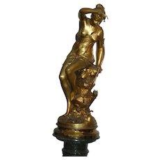 "Monumental Museum Gilded French bronze statue figurine "" Nymph De Diane"", PAR Mme SIGNORET-LEDIU, Salon 1891 Original Pedestal"