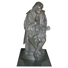 "Original Period Large French Patinated bronze statue, figurine,""L'Ariosto"",depicting  Italian Poet Ludovico Ariosto, signed A. Carrier , circa 1880"