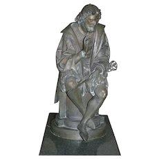 "Original Period Large French Patinated bronze statue, figurine,""L'Ariosto"",depicting  Italian Poet Ludovico Ariosto, signed A. Carrier , circa 1880"