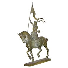Original large period French patinated bronze statue figurine Joan D. Ark, on Horse, signed Fremiet, circa 1880 - Red Tag Sale Item