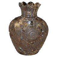 Large american Brilliant cut glass vase, ABP, circa 1905, museum quality