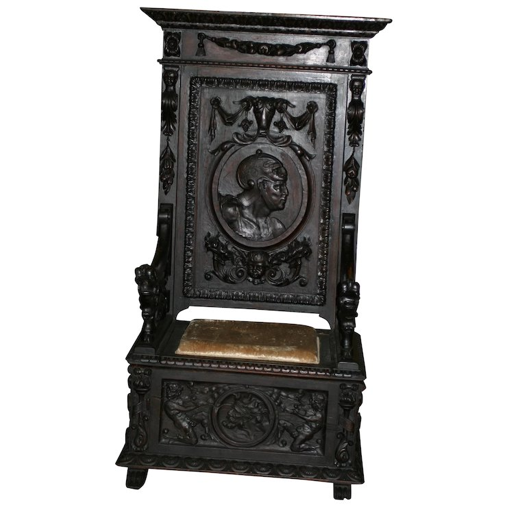 Antique French Renaissance Large Throne Chair/ Hall Bench, Heavily Carved,  19th Century Museum