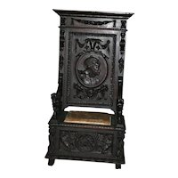 Antique French Renaissance large throne chair/ hall bench, heavily carved, 19th century museum piece