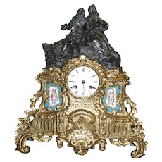 Antique French Gilded figural mantel clock, sevres plaques, Japy Feres, circa 1880