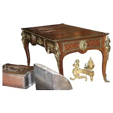 Original Period French figural gilded bronze, marquetry three drawer bureau platt, writing desk, circa 1880, museum quality
