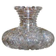American Brilliant cut glass flower vase, circa 1905, ABP, stunning shape and pattern