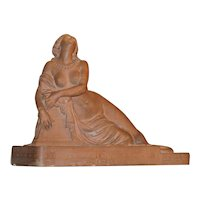 "Original period French Terracotta sculpture, ""Death of Lais"" by ""Roland Mathieu Meusnier"", circa 1849 museum piece"