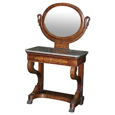 Antique  Empire style Dutch marquetry claw feet marble top vanity mirror, circa 1890 rare