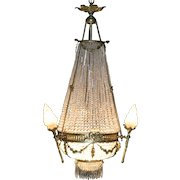 Stunning French large palatial gilded bronze and crystal chandelier, circa 1880