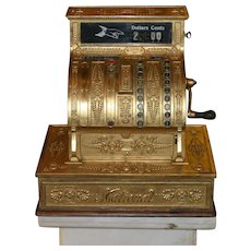 Antique National Brass Cash Register, rare model, Dayton Ohio, excellent working condition