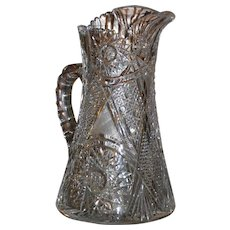 American Brilliant cut glass water pitcher, ABP, circa 1905, excellent condition, superb pattern