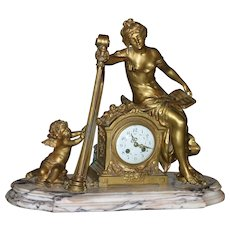 Original Period French gilded Bronze figural palatial mantel clock, cherub playing harp, stunning, circa 1880