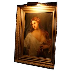 Original Period Large Gilded carved wood frame painting, oil on canvas portrait of a maiden, masterpiece, 19c.