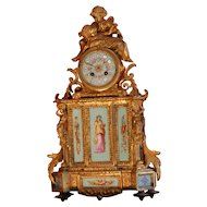 Stunning large French figural gilded bronze hand painted porcelain panels mantel clock, circa 1880