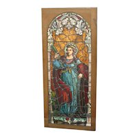 Stunning Period hand painted stained glass large door, Queen of nature, excellent condition, circa 1900