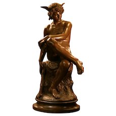 "Antique huge French patinated bronze statue""HERMES"" sitted, circa 1867, signed MARIUS M."