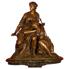 Original Period French patinated bronze statue two maidens, 19th century, signed Gautier el albinet Editein, large