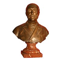 "Original Antique French Patinated Bronze bust of ""Noble Man"", life size, marble base, signed. A.guilloux,"