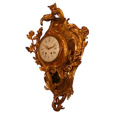 Huge palatial French figural gilded bronze cartel wall clock, rooster, circa 1880