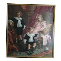 Life size palace size antique oil on canvas painting realism, signed P.la Bouloye, circa 1900