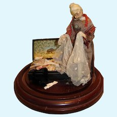 """Artist Made Diorama Doll """"Memories of a Life Time"""" in Dome"""